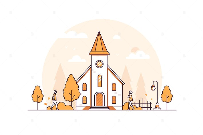 Thumbnail for Small church - thin line design style illustration