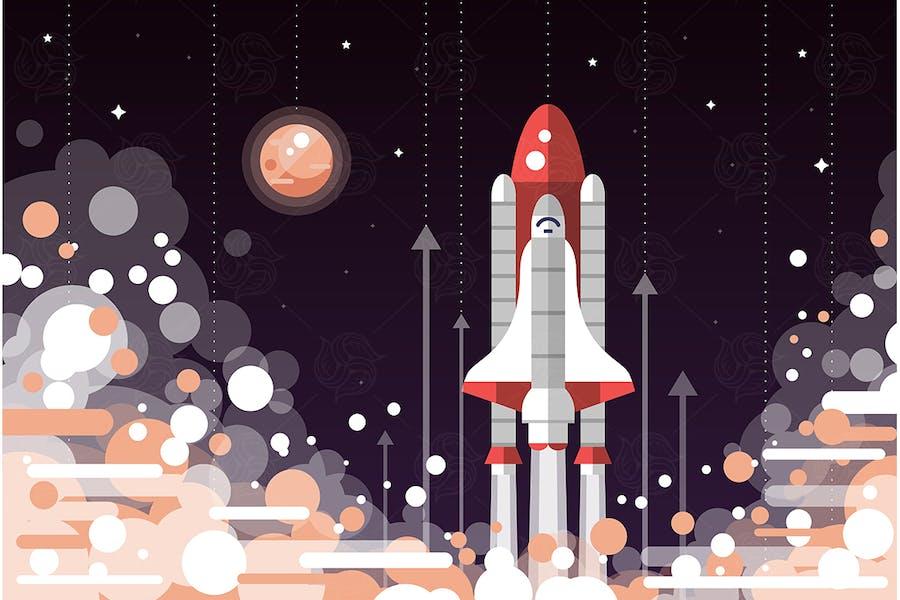 Space Shuttle Launch - flaches Design Illustration