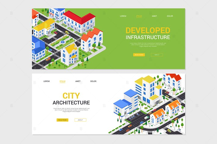 Developed infrastructure - isometric banners