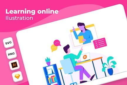 Online lernen - Onboarding-Illustration