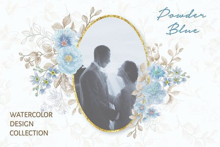 Powder Blue Watercolor Design Collection