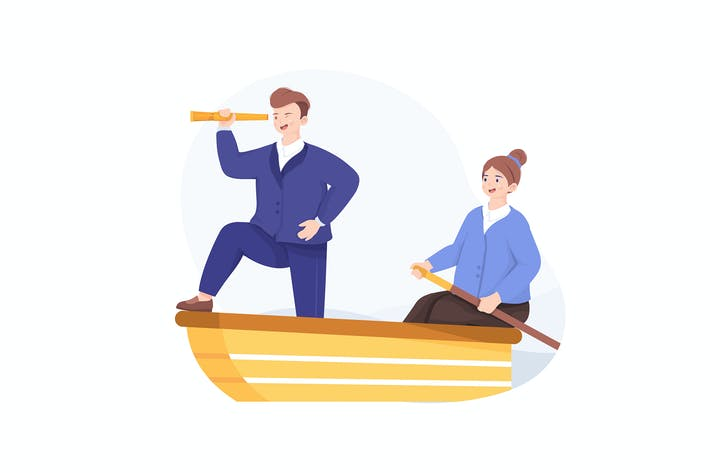 Thumbnail for Business man and woman sailing on boat together