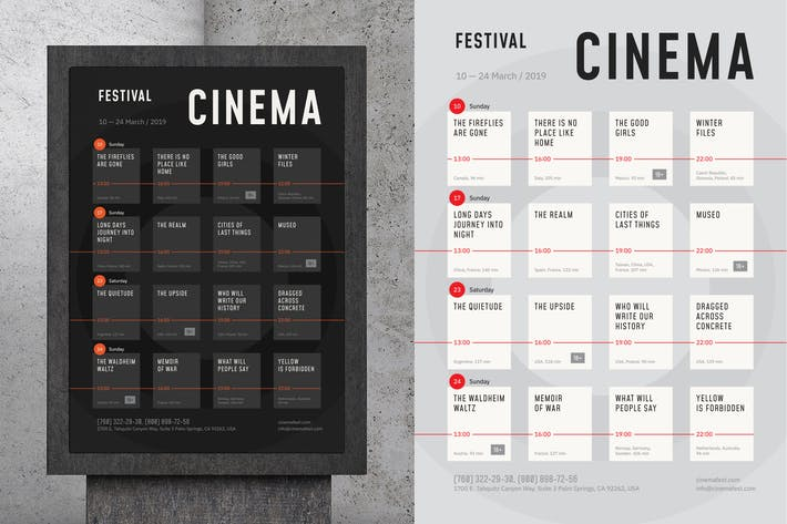 Thumbnail for Film Festival Schedule Poster Template