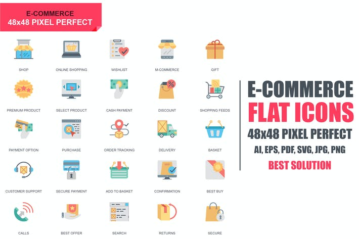Thumbnail for Simple Set E-Commerce and Shopping Flat Icons