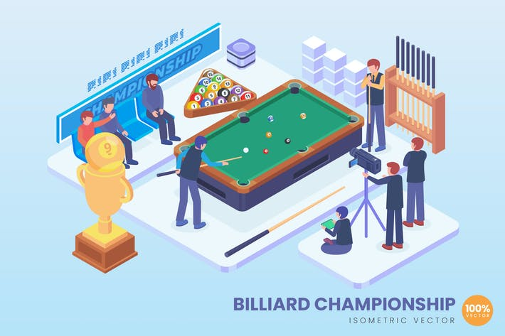 Thumbnail for Isometric Billiard Championship Vector Concept