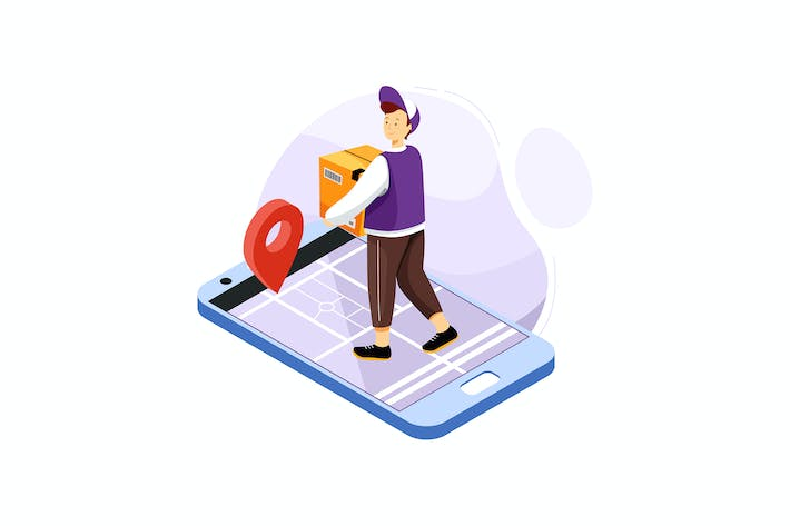 Thumbnail for Online Delivery Tracking Application Illustration