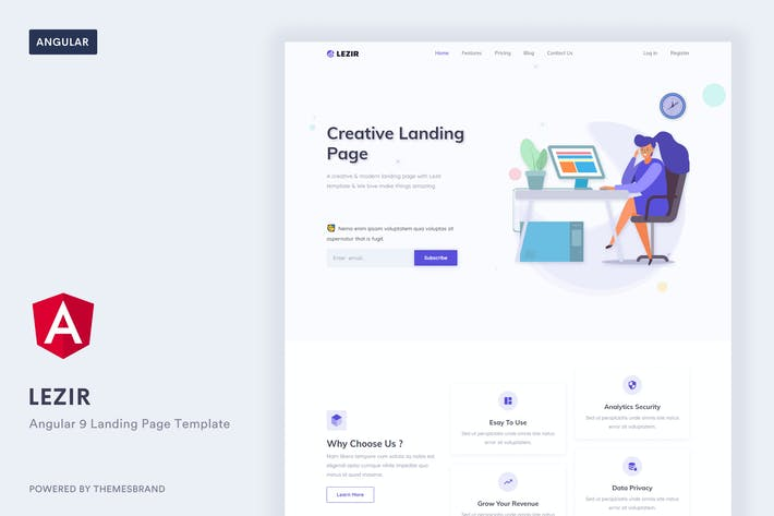 Thumbnail for Lezir - Angular 9 Landing Page Template