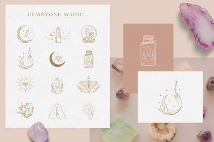 Decorative Elements with Gemstones Vector. Tattoo.