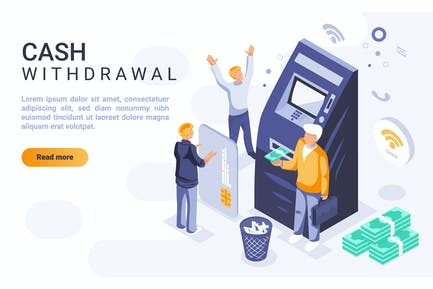 Cash Withdrawal Isometric Header Flat Concept