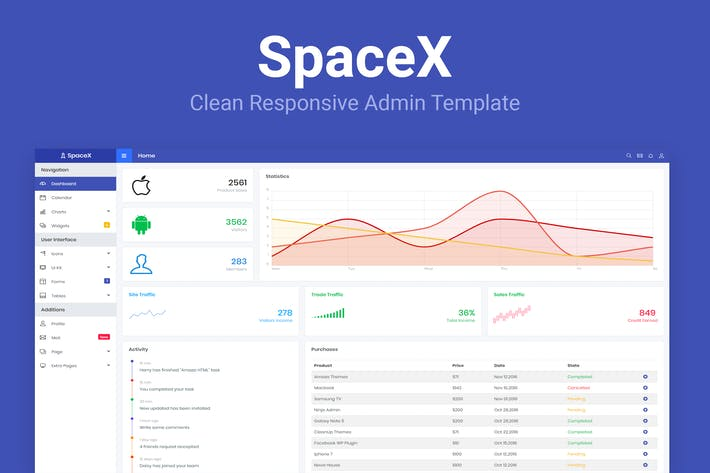 Thumbnail for SpaceX - Bootstrap Admin Template