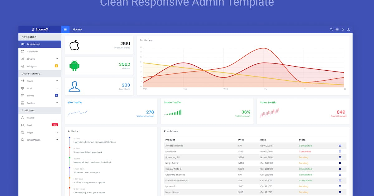 Download SpaceX - Bootstrap Admin Template by NinjaTeam