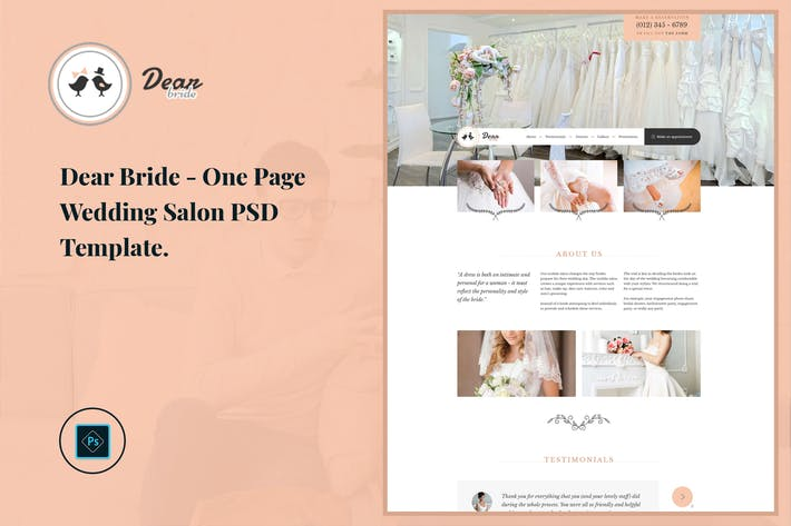 Thumbnail for Dear Bride - One Page Wedding Salon PSD Template