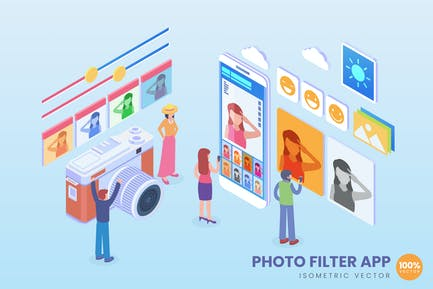 Isometric Photo Filter Application Vector Concept
