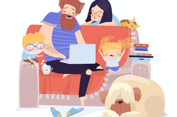 Thumbnail for Happy family sitting on the couch with laptop. Vec