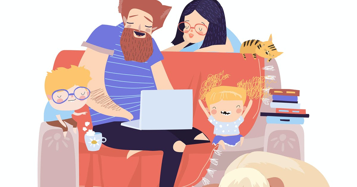 Download Happy family sitting on the couch with laptop. Vec by masastarus