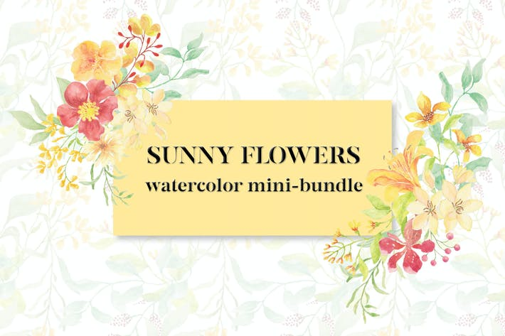 Thumbnail for Sunny Flowers: Watercolor Clip Art Mini Bundle