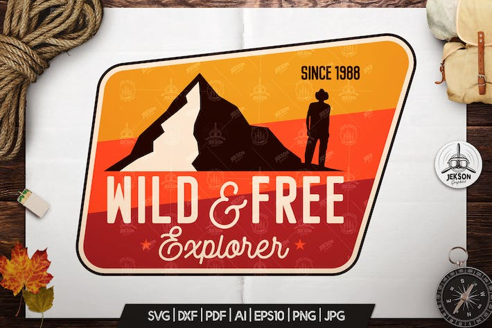 Thumbnail for Wild Explorer Badge / Vintage Travel Logo Patch