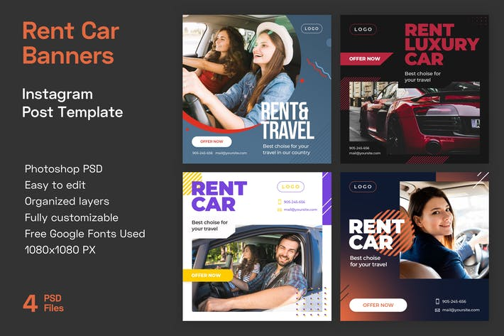 Thumbnail for Rent Car Instagram Banner Templates | Travel