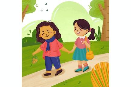 Ilustración de mamá e hija