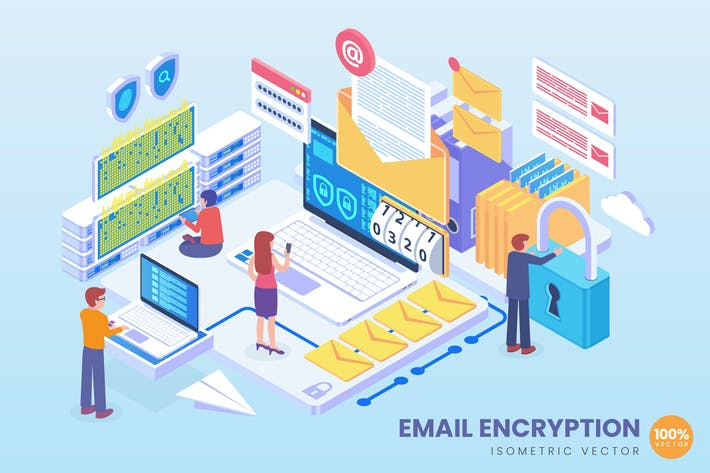 Cover Image For Isometric Email Encryption Technology Vector