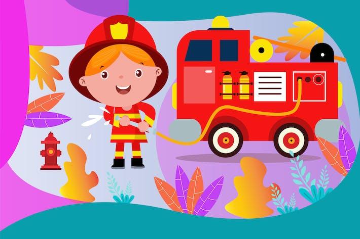 Thumbnail for Little Firefighter - Vector Kids Illustration