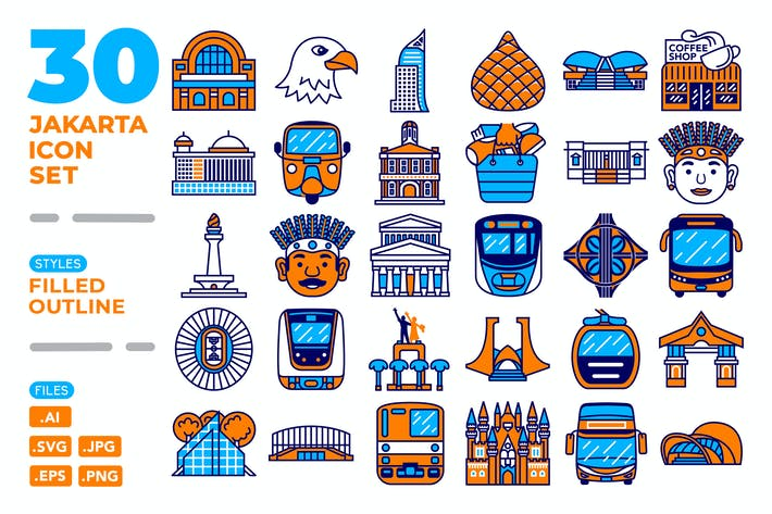 Thumbnail for Jakarta Icon Set (Filled Outline)