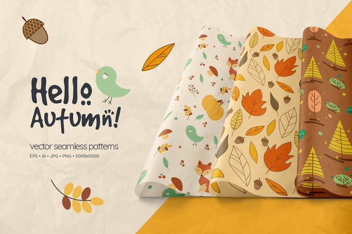 Thumbnail for Hello Autumn Seamless Patterns