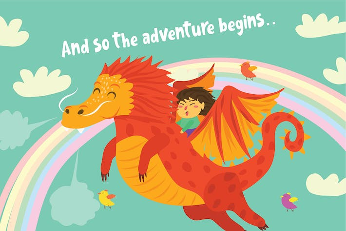 Thumbnail for Kid Flying Dragon - Vector Illustration