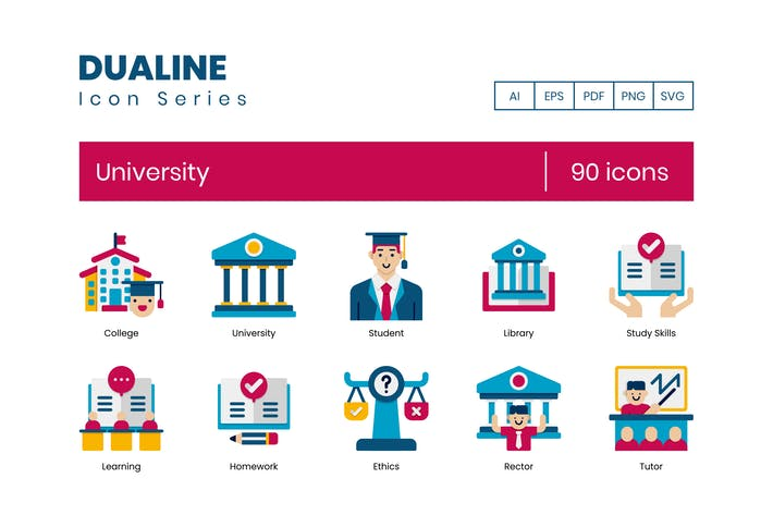 90 University Icons - Dualine Flat Series