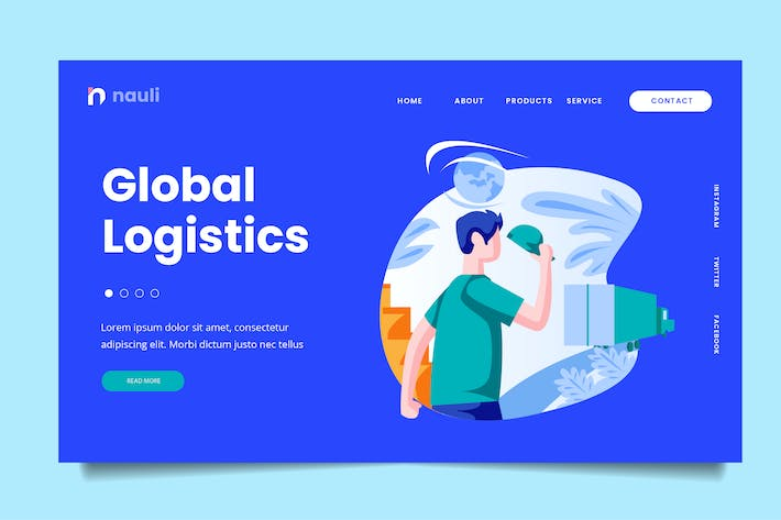 Thumbnail for Global Logistic Web Header PSD and AI Vector