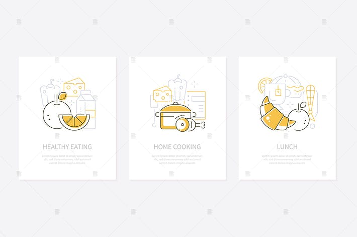 Thumbnail for Food and nutrition - line design style banners