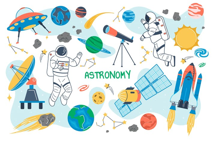Astronomy Concept Isolated Elements Set