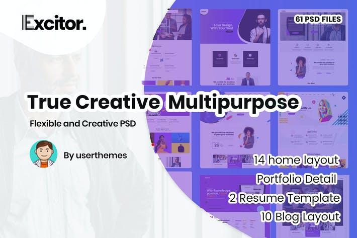 Thumbnail for Excitor - Creative & Clean Multipurpose Template