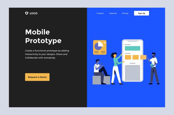 Thumbnail for Mobile Prototype - Web Mobile Landing Page Banner
