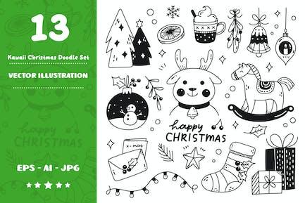 Kawaii Weihnachts-Doodle-Set