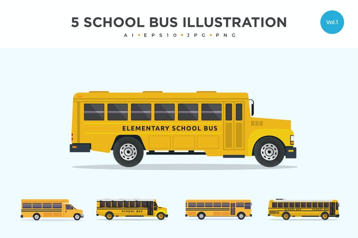 Cover Image For 5 School Bus Vector Illustration Set 1