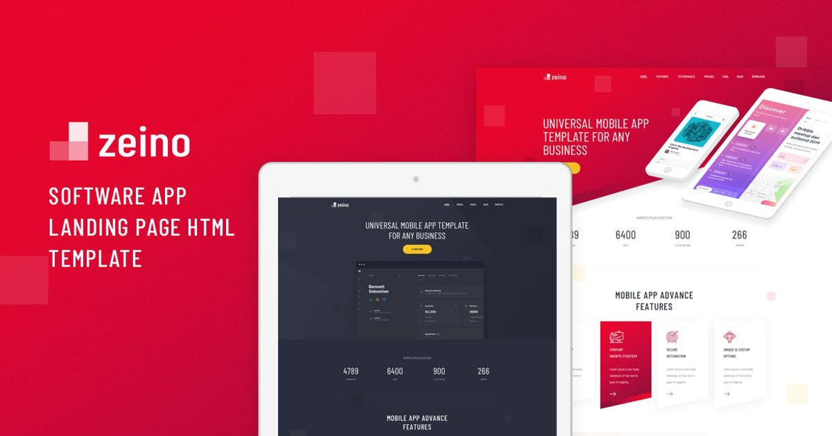 Download Zeino - Software App Landing Page HTML Template by Layerdrops