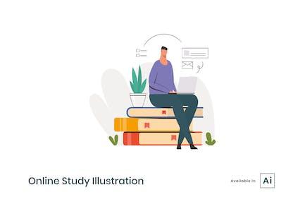 Ilustración de estudio en línea