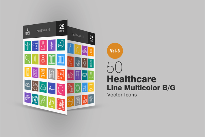 Thumbnail for 50 Healthcare Line Multicolor Icons