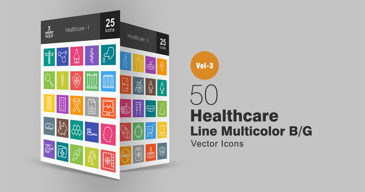 Download 50 Healthcare Line Multicolor Icons by IconBunny
