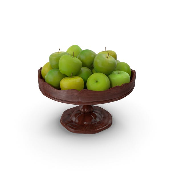 Fancy Wooden Bowl with Green Apples