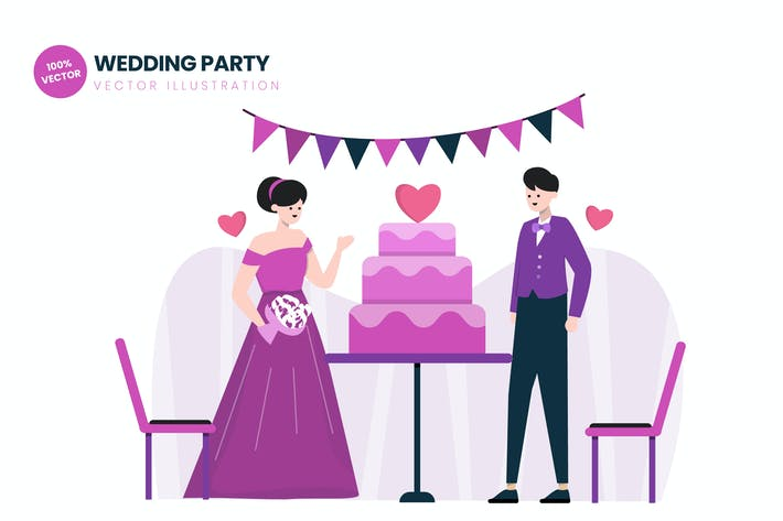 Cover Image For Wedding Party Flat Vector Illustration