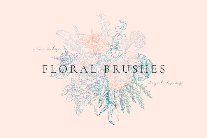 Thumbnail for Floral Flexible Illustrator Brushes