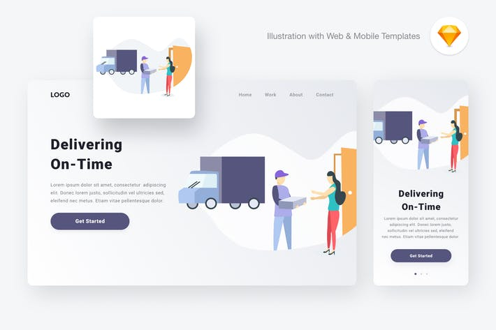 Thumbnail for Delivering illustration (Sketch & SVG)