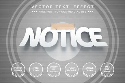 Papel adjunto: efecto de texto editable, estilo de fuente