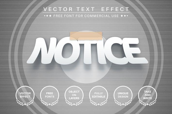 Прикрепленный бумажный редактируемый текстовый эффект, стиль шрифта