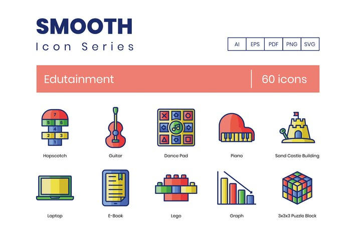 Thumbnail for 60 Edutainment Icons - Smooth Series
