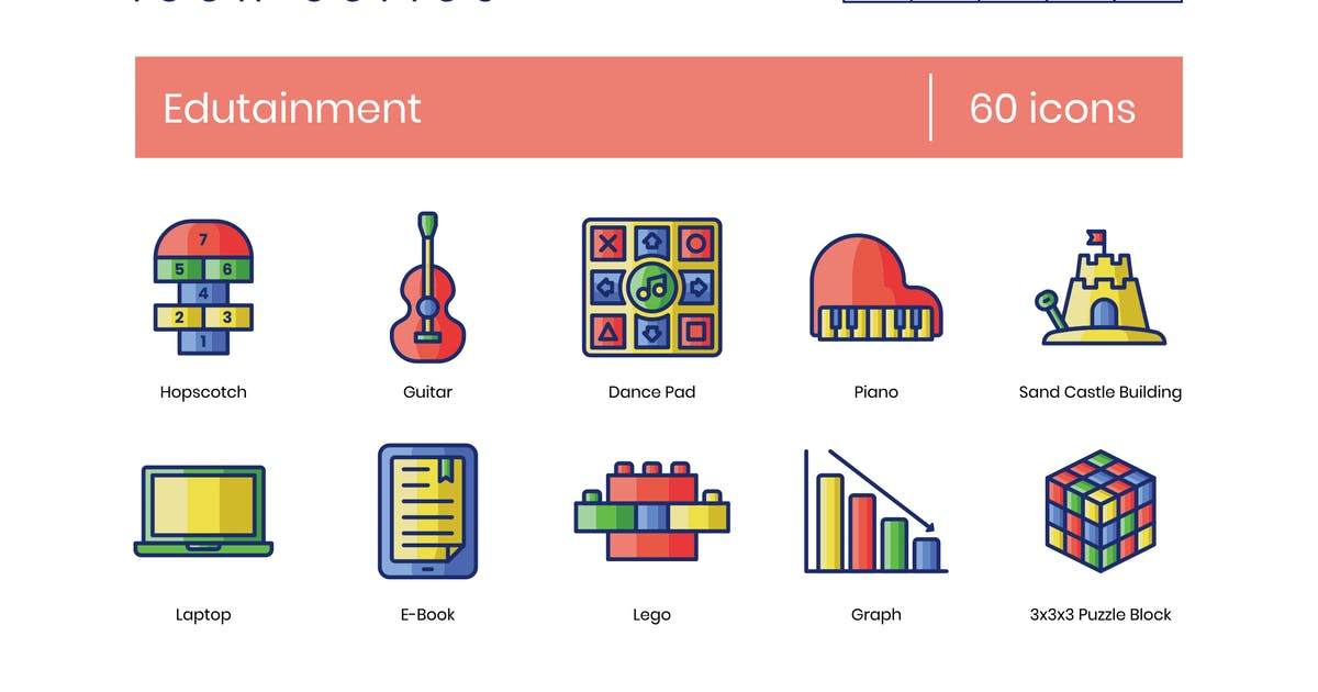 Download 60 Edutainment Icons - Smooth Series by Krafted