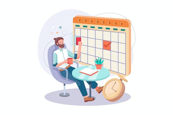 Young man fills schedule calendar for work