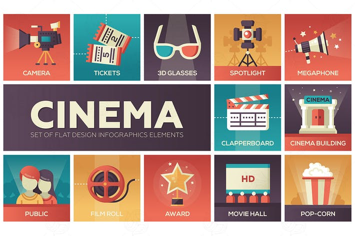 Thumbnail for Cinema and movie - vector modern flat design icons